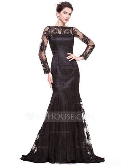 d18138bfb598 Trumpet/Mermaid Off-the-Shoulder Sweep Train Zipper Up Sleeves Long Sleeves  No Black Winter Spring Fall General Plus Lace Evening Dress