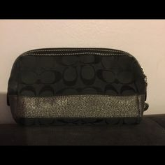 Coach Fabric Black Signature Make-Up Case Good Condition with slight make-up stains inside Coach Bags Clutches & Wristlets