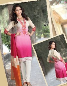 Spring Summer Salwar Suits|Indian Clothing|India Fashion|Pakistani|South Asian Dress - _p_Ombre dyed Cotton Dobby Churidar Suit_/p_ - Online women clothing