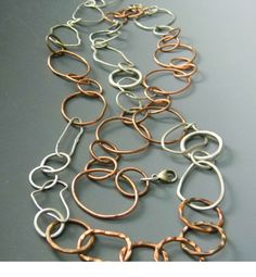 43 inches Long Handmade Copper and Sterling Necklace