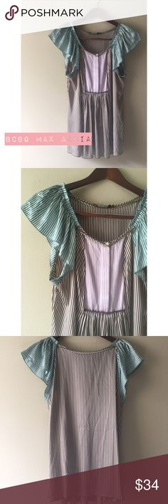 BCBG Max Azria Mint + Lavender Stripe Slip Blouse EUC- No flaws perfect condition | mint, lavender, brown & white stripes with buttons down top chest | ruffle sleeves & airy | pair with some white shorts + big sun hat  :) BCBGMaxAzria Tops Blouses