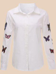Women Long Sleeve Lapel Butterfly Embroidery Blouse