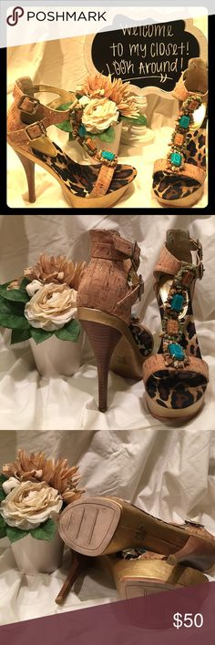 💋💋Bakers Heel💋💋 What better word for this Bakers shoe by the name of 'Marisol' than... Phenomenal!!!! Pics say it all!!! Worn once!!! A small break in the small stones around the turquoise..easy fix! I have the stones!!! Bakers Shoes Heels