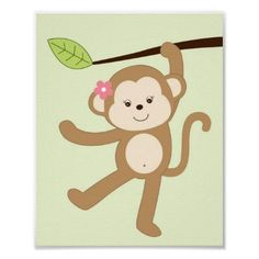 Girl Monkey Jungle Nursery Wall Art Print