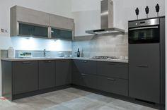 Keukens Moderne hoekkeuken grijs met betonlook