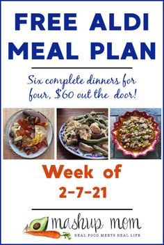 Free ALDI Meal Plan week of 2/7/21: Six complete dinners for four, $60 out the door! Save time and money with meal planning, and you'll find brand new meal plans here every week. Cook along with us, and enjoy everything from a sausage & pierogies sheet pan dinner to slow cooker chipotle chicken chili -- and more. Meal Planning Board, Weekly Menu Planning, Real Food Recipes, Healthy Recipes, Meal Recipes, Aldi Meal Plan, Slow Cooker Lentils, Frugal Meals, Freezer Meals