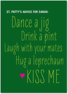 St Patricks Day advice - Personalized greeting cards from treat.com