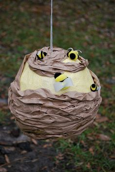 Homemade Beehive Piñata for a Winnie the Pooh birthday party