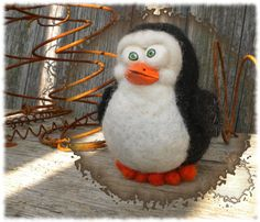 OOAK Needle Felted Wool Shivers the Penguin by RustyTheHermit, $28.95