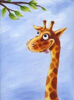 Hungry giraffe print from original painting by gabbogabbogabbo