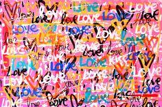Original Love Painting by Mercedes Lagunas Love Graffiti, Graffiti Pictures, Graffiti Wall Art, Graffiti Painting, Mural Painting, Street Art Graffiti, Painting Abstract, Love Canvas Painting, Graffiti Prints