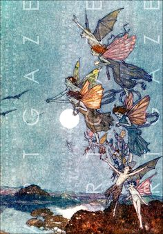 Illustration by Arthur Rackham . A Fairy's Life by William Shakespeare Arthur Rackham, Art And Illustration, Art Illustrations, Edmund Dulac, Elves And Fairies, Vintage Fairies, Fairytale Art, Fairy Art, Magical Creatures