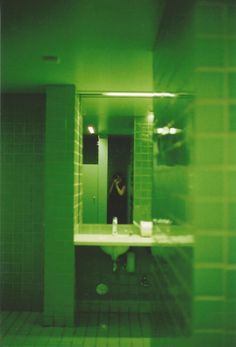 Image via We Heart It https://weheartit.com/entry/160259136 #bathroom #glow #green #lights #mirror