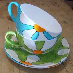Hand Painted Fine Bone China Turquoise Retro Flowers Cappuccino Cup Saucer Big Teacup
