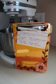 Cute recipe organizer with clipboard on front. Makes a great gift!  #ourmomstouch