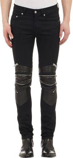 Saint Laurent Leather-Detail Moto Zip Jeans-Black