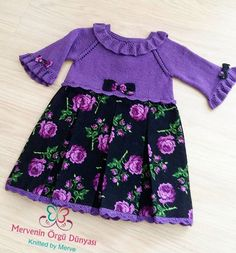 I wish you all a good evening with my purple flowered dress. - Mor çiçekli fistanım ile hepinize iyi akşamlar diliyorum Örgü kumaş karı… I wish you al - Crochet Fabric, Crochet Baby, Knitted Baby, Baby Knitting Patterns, Knitting Designs, Diy Crafts Knitting, Knit Baby Dress, Hobbies For Women, Child Models