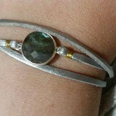 Bracelet callune / suedine argent / pierre naturelle labradorite sur mesure