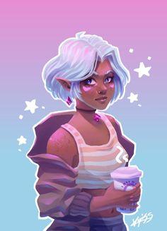 Cyoot Allura with short hair Girl With Purple Hair, Girl Short Hair, Oc Drawings, Cool Art Drawings, Voltron Princess Allura, Voltron Allura, Character Art, Character Design, Voltron Fanart