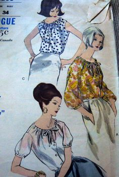 LOVELY VTG 1960s BLOUSE VOGUE Sewing Pattern 14/34 | eBay Vogue 6206