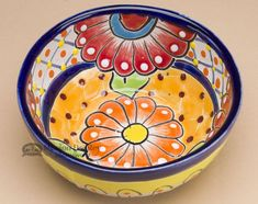 This hand painted Talavera pottery salsa bowl is the colorful ceramic of southern Mexico. With intricate patterns and brilliant colors, Talavera ceramic pottery is beautiful and adds life to any setti Talavera Pottery, Glazes For Pottery, Ceramic Pottery, Pottery Art, Pottery Ideas, Painted Plates, Hand Painted Ceramics, Ceramic Plates, Pottery Painting