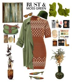 """""""Rust and Moss Green"""" by nancyh4745 ❤ liked on Polyvore featuring NOVICA, River Island, Fendi, Pier 1 Imports, Sports Coverage, Ralph Lauren, San Diego Hat Co., Allstate Floral, Gucci and Illamasqua"""