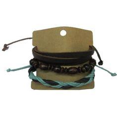 Brown Leather Wood Beads Bracelets Set GBR10043