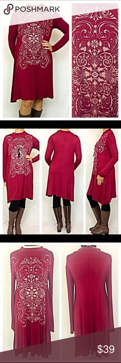 """Tribal Tunic Dress Flowy Small Medium Long Sleeved This adorable, flowy, easy to wear tunic tribal dress is the perfect transition piece to take you from day to evening in fabulous style & comfort. Flattering fit can be worn alone or with tights/leggings. Pair with your favorite boots & you are good to go. Maroon (brick red) with taupe tribal design & shark bite bottom 95% rayon/5% spandex (nice stretch) long sleeves  Measurements: Small Bust 34-36 Length 36"""" Medium Bust 36-38 Length 37""""…"""