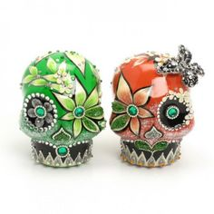 Skull Wedding Cake Toppers Coral and Green Sugar Skulls. SO FREAKING AWESOME!!!