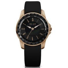 $170 , IP Rose Gold Case with MOP/Sunray Dial and Black Satin Leather Strap