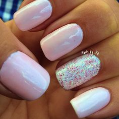 See more about pink sparkle nails, sparkle nails and pink sparkles. Gem Nails, Shellac Nails, Love Nails, How To Do Nails, Pretty Nails, Nail Gems, Nail Polish, Pink Sparkle Nails, Sparkly Nails