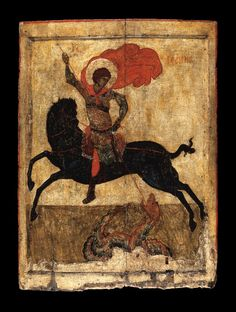 The Miracle of St George and the Dragon; Black George; painting; icon; 1400-1450; Novgorod Oblast; Ilinski Pogost. © The Trustees of the British Museum