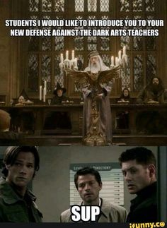 """Perfect. Sam would be the perfect teacher, all like """"and this my dear students is how you draw a perfect circle of salt"""". Dean would totally go """"you just have to kill it, kill it"""" and would shoot/cut/smash something (probably one of the houseghosts). And Cas would just stand confused in the hallways arguing with the pictures."""
