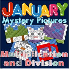 January Themed Mystery Pictures for Multiplication and Division Review from Washburn's Room on TeachersNotebook.com -  (10 pages)  - January Themed Mystery Pictures for Multiplication and Division Review