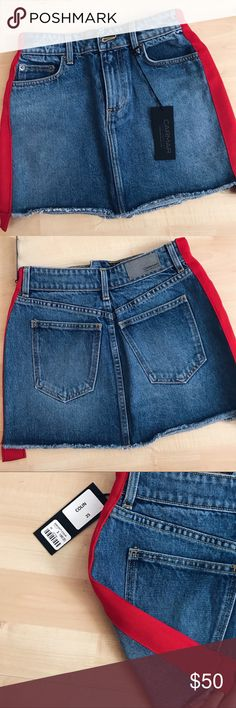 LF Carmar Red ribbon denim skirt Runs small! New with tags Check out my closet for other lf💖 Want to pay less? Find this on ♏️e rc! LF Skirts Mini