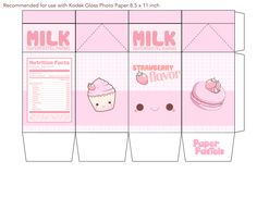 9 Best Images of Milk Kawaii Printable Papercraft - Kawaii Milk Carton Template, Cute Kawaii Milk Papercraft and Kawaii Milk Papercraft Printable Anime Crafts, Kawaii Crafts, Kawaii Diy, Diy Gift Box, Diy Gifts, Instruções Origami, Diy And Crafts, Crafts For Kids, Kpop Diy