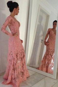 Lace Custom Made Beading Long Prom Dress,Evening Dress,Prom Dresses,BG145