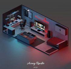 Gamer Bedroom, Bedroom Setup, Best Gaming Setup, Gaming Room Setup, Blender 3d, Small Game Rooms, Computer Gaming Room, Sims House Plans, Video Game Rooms