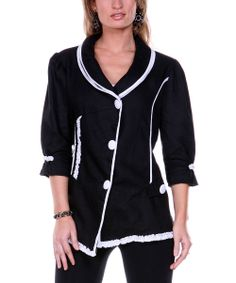 Black Embroidered Linen Jacket - Women   something special every day