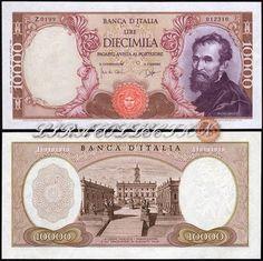 3799d1cb00 10000 Lire MICHELANGELO Lira Italiana, Foto Storiche, Italia, Retrò,  Banconota, Monete