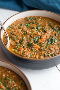 Easy Lentil Soup with Kale and Bacon - Will Cook For Friends Full recipe
