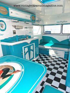 Inside Mike Well's Vintage Caravan, New Zealand.