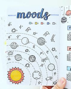 Planets and outer space mood tracker perfect for your bullet journal.