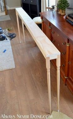Make This Sofa Table for 25 We needed a some sort of table behind our sofa to accommodate lighting and for a place to set things since we can t put table on #WoodworkingTips #WoodworkingProjects #WoodworkingforBeginners #WoodworkingDIY