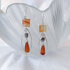 Natural agate drops sterling silver dangling earrings with sterling silver wire by Uneat on Etsy
