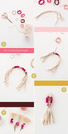 Tassels Keychain DIY Instructions - Miss K. Says Yes - Great gift: DIY keychain to make yourself. Informations About Quasten Schlüsselanhänger DIY Anleit - Keychain Diy, Tassel Keychain, Keychain Ideas, Diy Jewelry, Handmade Jewelry, Jewelry Ideas, Fashion Jewelry, Recycled Jewelry, Gold Jewelry