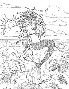 Creative Haven Mermaids Coloring Book Mermaid Coloring Book, Fairy Coloring Pages, Animal Coloring Pages, Coloring Pages To Print, Adult Coloring Pages, Coloring Sheets, Mermaid Artwork, Mermaid Drawings, Mermaid Pictures