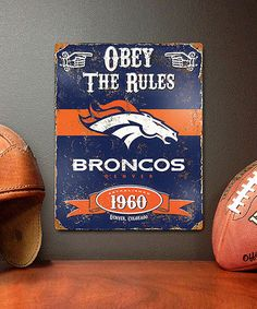This Denver Broncos Vintage Metal Sign is perfect! #zulilyfinds