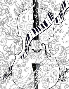 Adult Coloring Page Printable Adult Violin door JuleezGallery