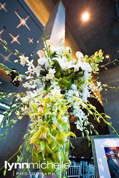 modern white wedding, gorgeous white and green floral centerpiece arrangement.
